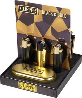 Clipper flint lighter metal black & gold