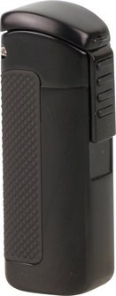 3-flame jet cigar llighter PASSATORE lacquer black with cigar punch 7mm